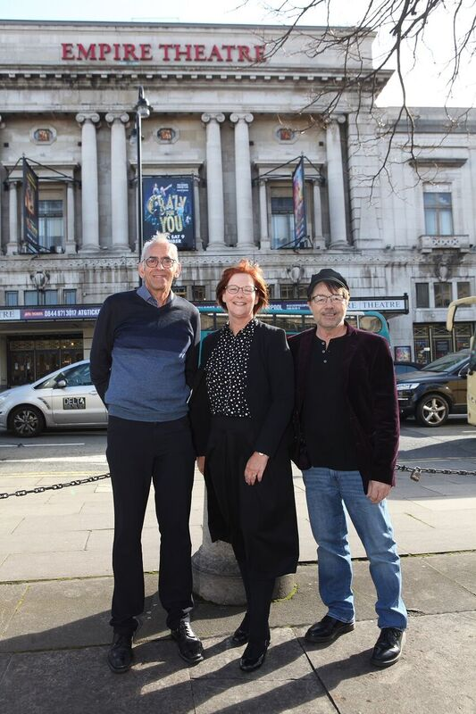 Helen Forrester's son Robert Bhatia with Liverpool Empire theatre director Diane Belding and Rob Fennah