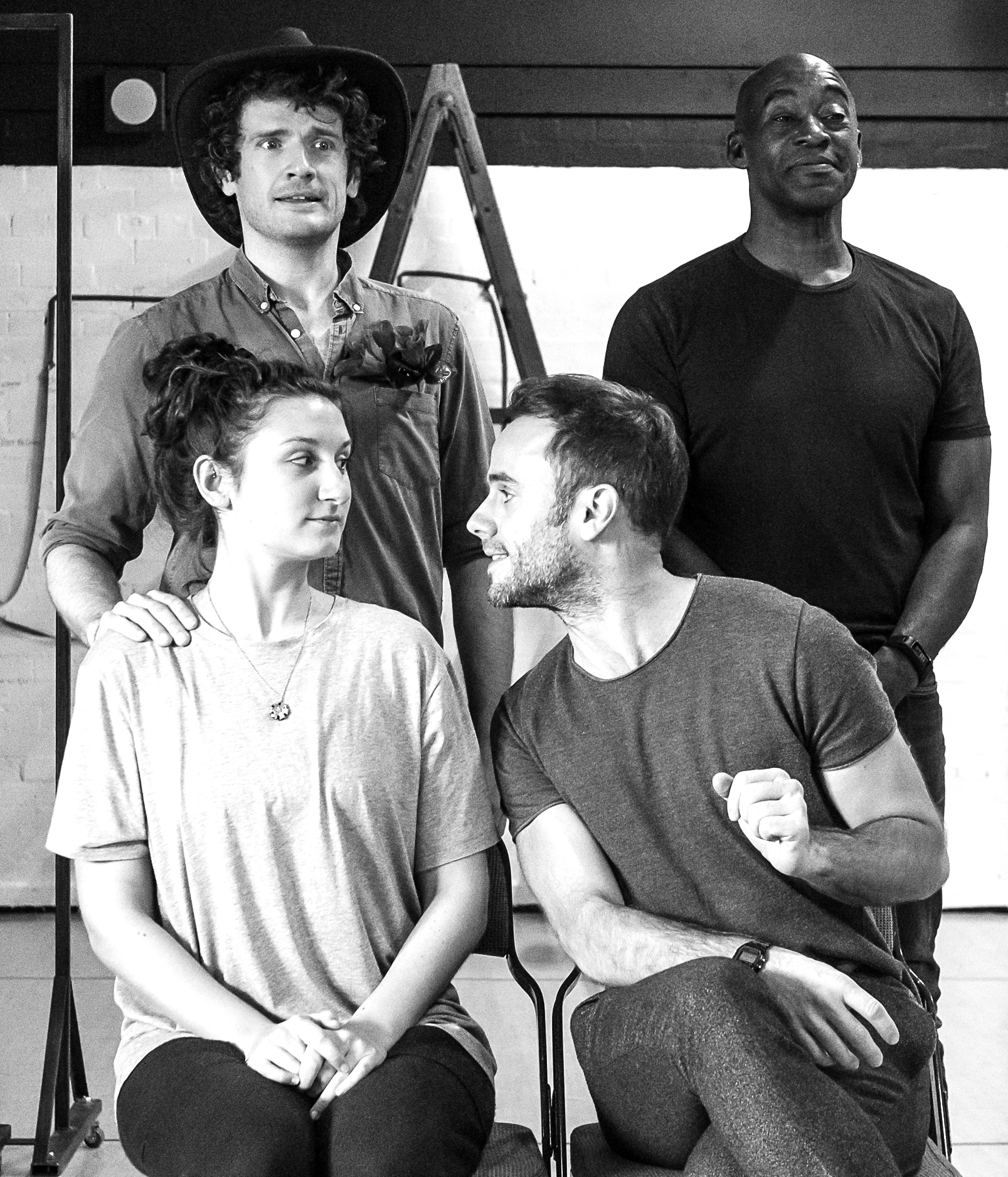 Edward Harrison, Patrick Robinson, Bessie Carter and Jay Taylor during rehearsals for 'Baskerville'. Picture by Brian Roberts