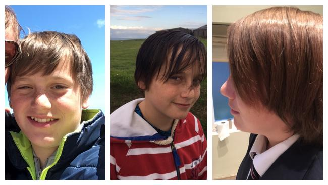Pictures showing how Cason's hair has grown over year