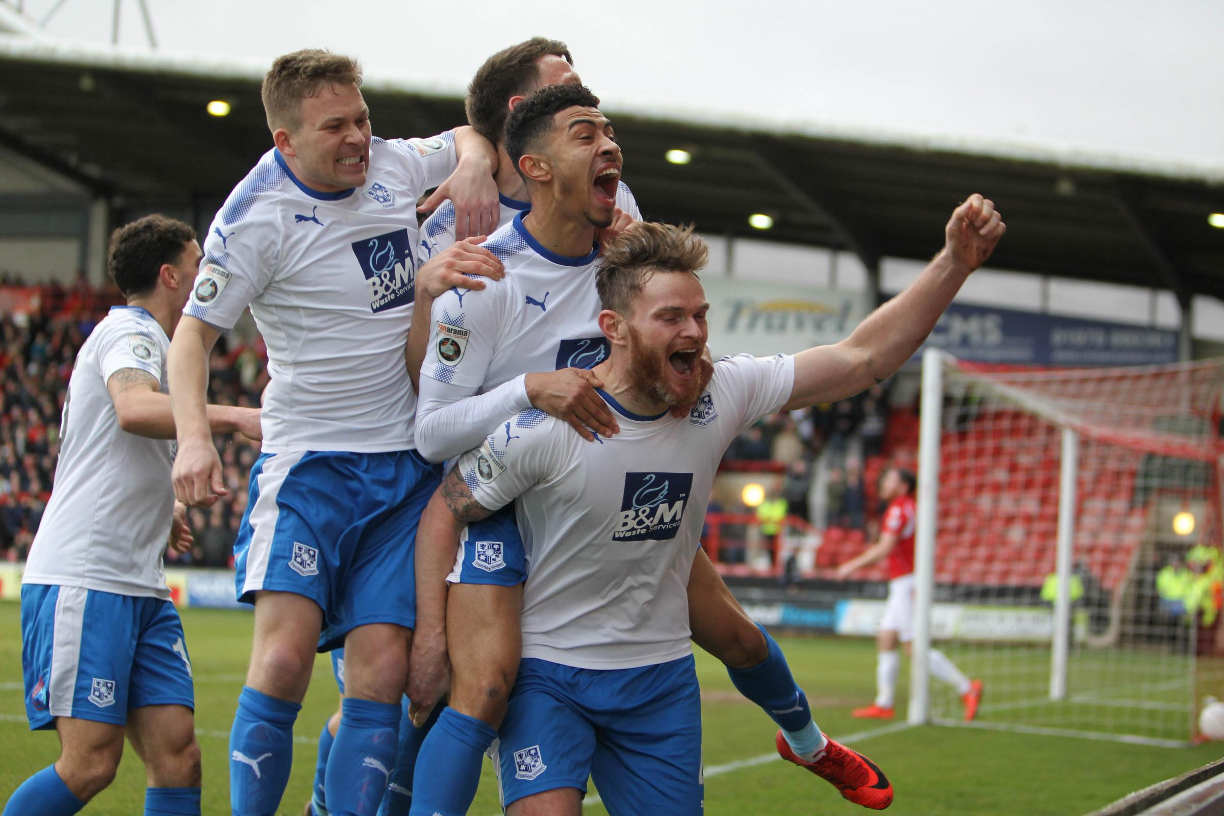 Richie Sutton celebrates scoring on Saturday. Picture: Richard Ault