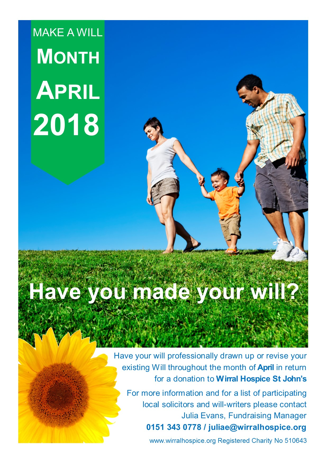 Wirral Hospice St John's Make a Will Month April