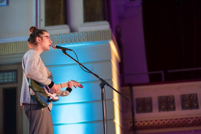 Wirral musician Zuzu performing at Birkenhead Town Hall for the Imagine Wirral launch
