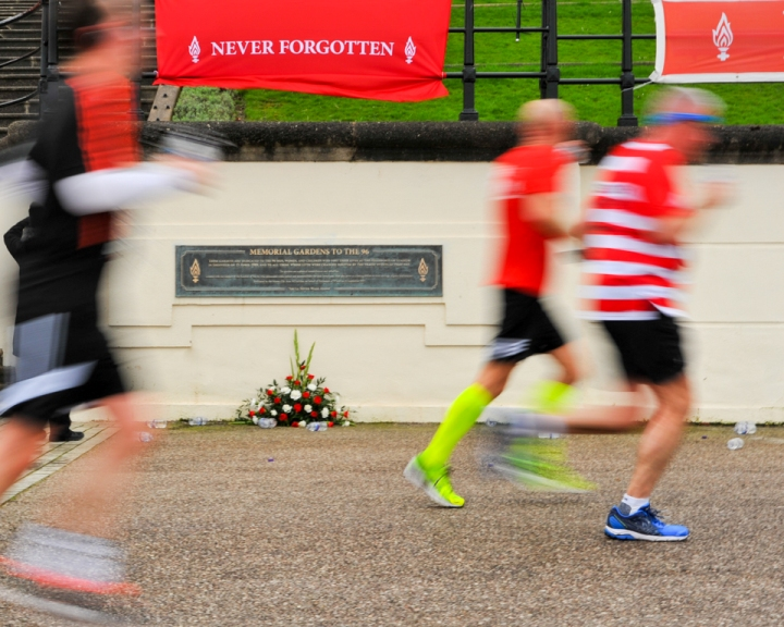 During the race, runners also passed the Memorial Gardens To The 96 at Wallasey Town Hall. Picture: Paul Francis Cooper