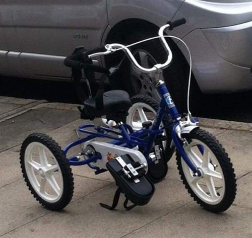 The blue Theraplay trike was taken from outside the front of a house on Park Road North