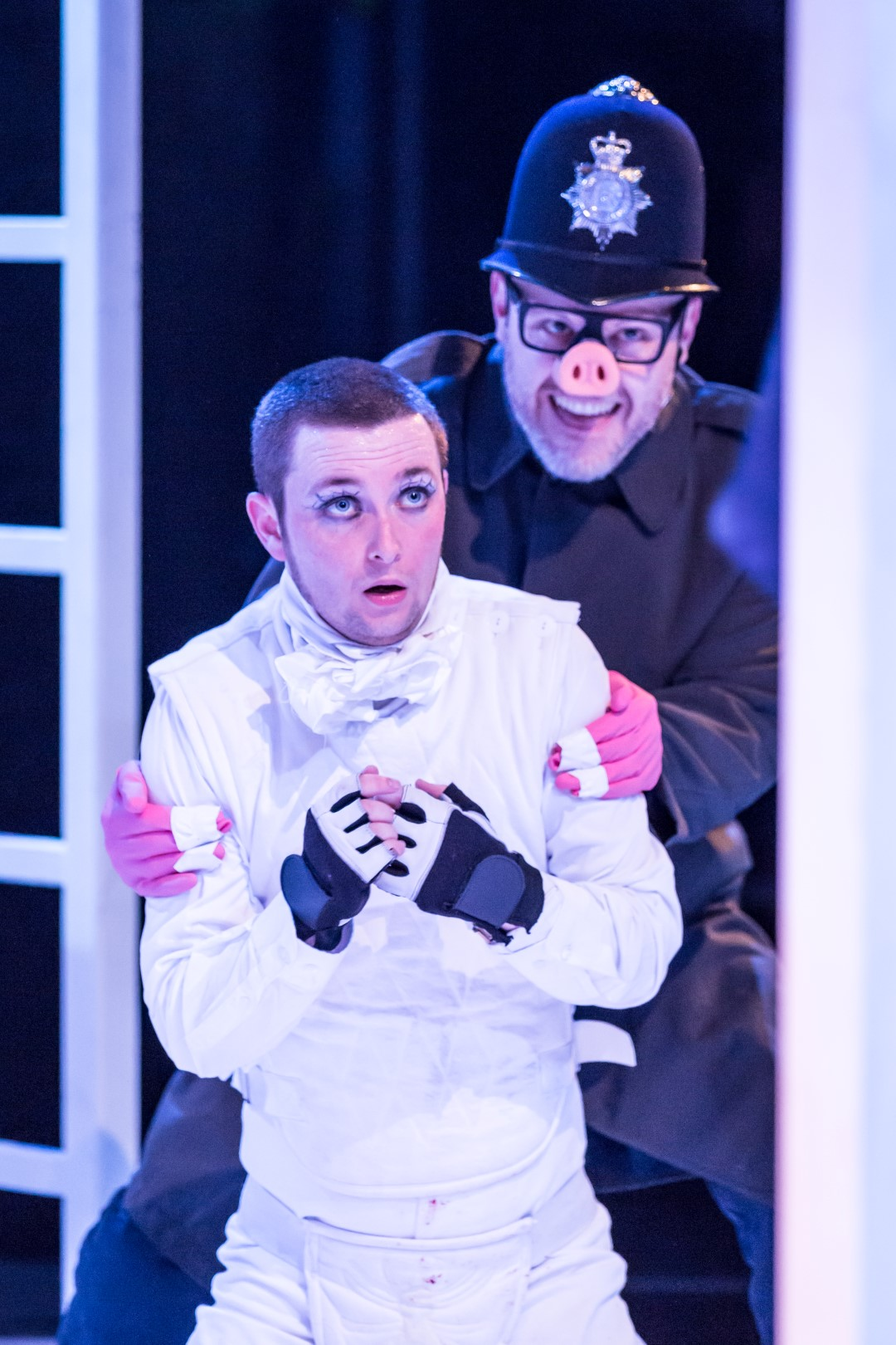 George Caple and Liam Tobin in scene from 'A Clockwork Orange'. Photograph by Marc Brenner