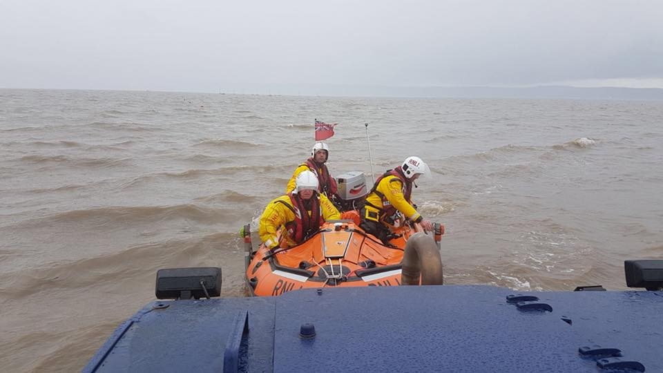 Lifeboat crews found the man sheltering from the rain behind a concrete post on Little Eye. (RNLI West Kirby Lifeboat)