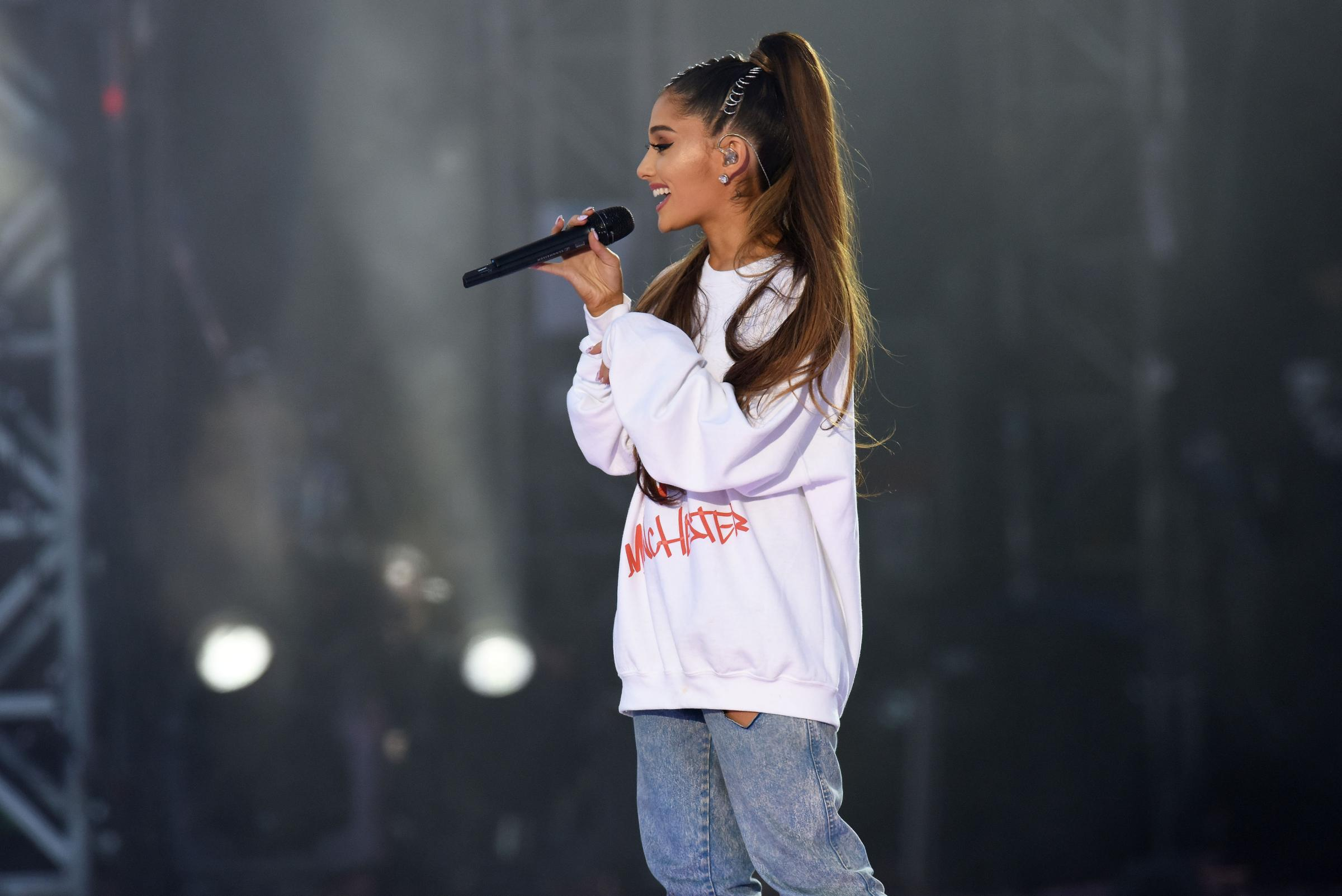 Ariana Grande performing during the One Love Manchester benefit concert for the victims of the Manchester Arena terror attack. Picture: One Love Manchester