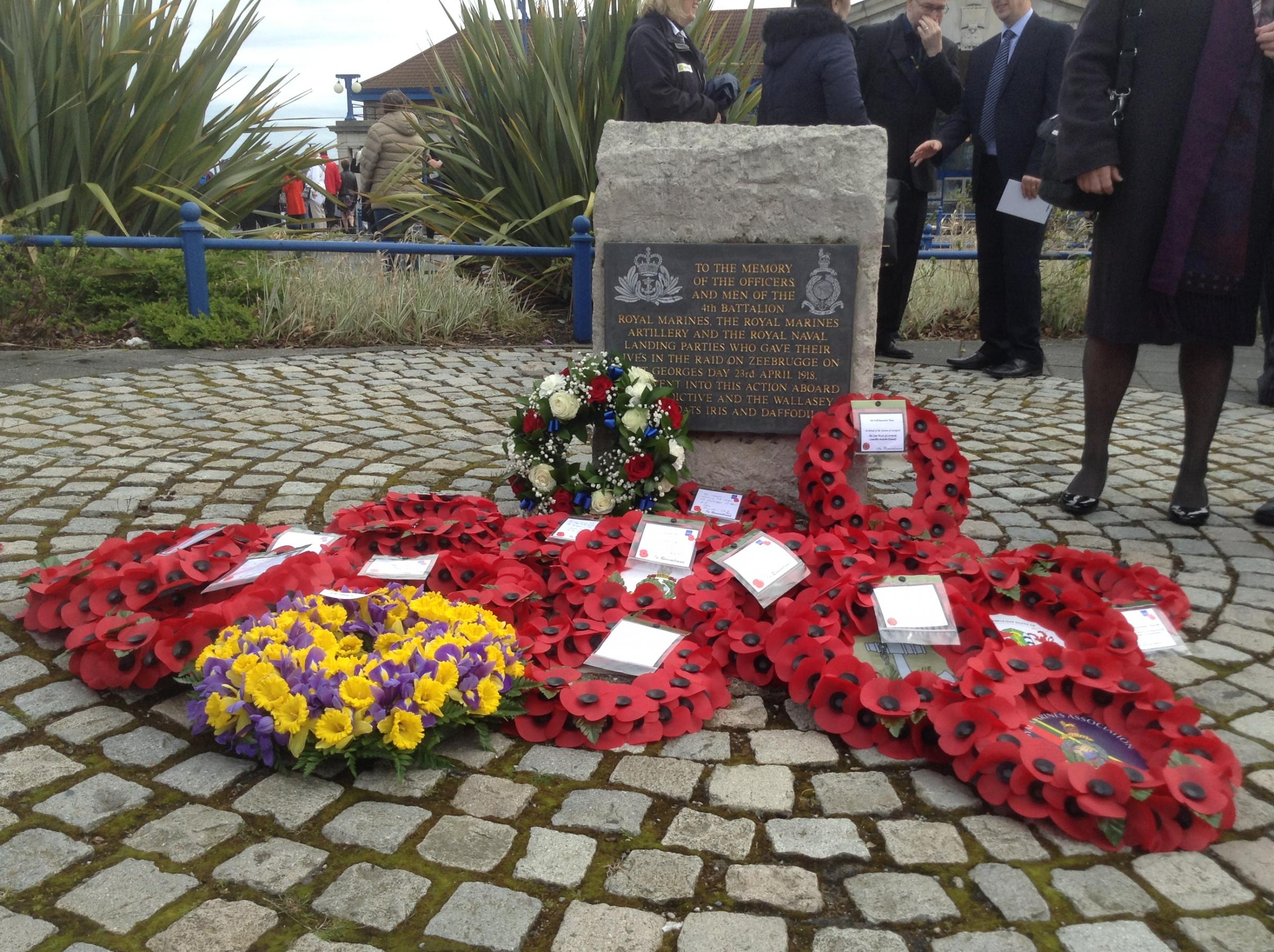 Wreaths laid at the Zeebrugge memorial stone at Seacombe Ferry this morning. Pictures and video by Craig Manning
