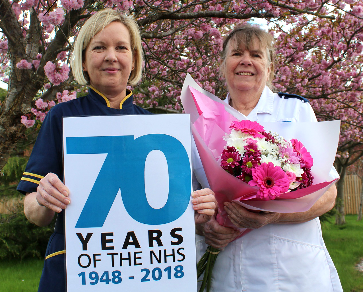 Left to right: Gaynor Westray, director of nursing and midwifery and nurse Kathy Shirley celebrate