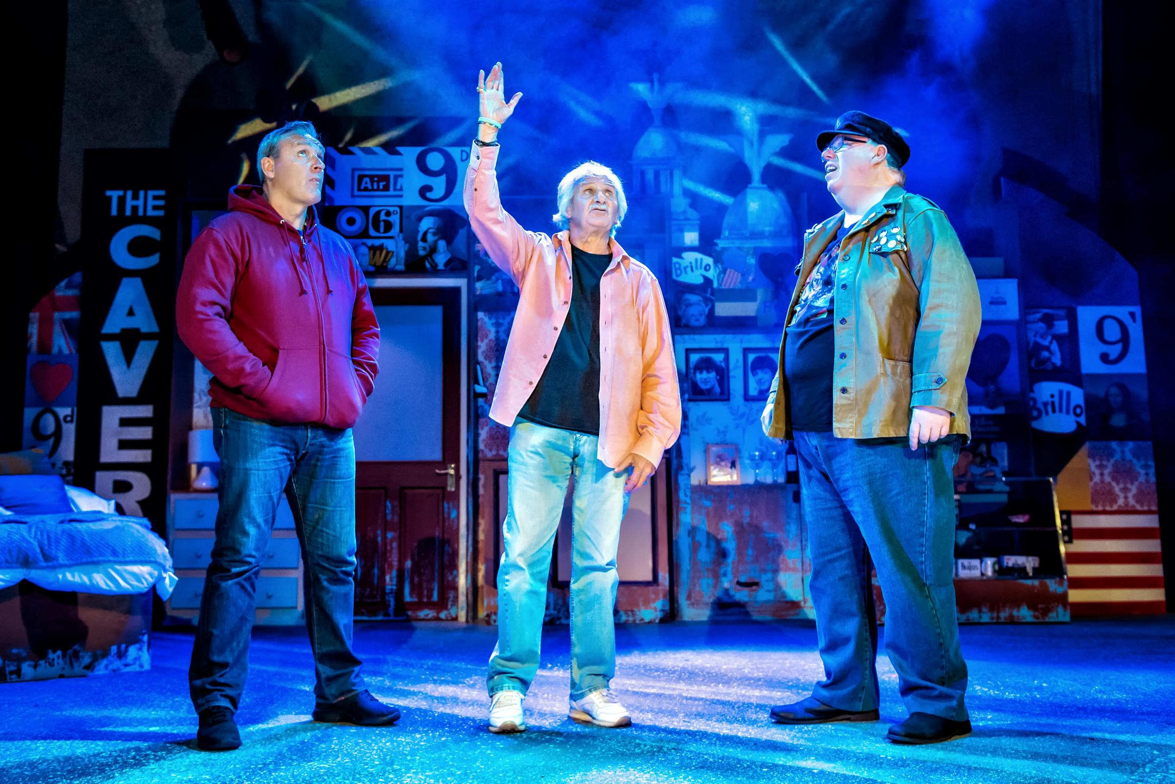 Mark Moraghan, Pete Best and Eric Potts in scene from 'Lennon's Banjo'. Picture: Anthony Robling