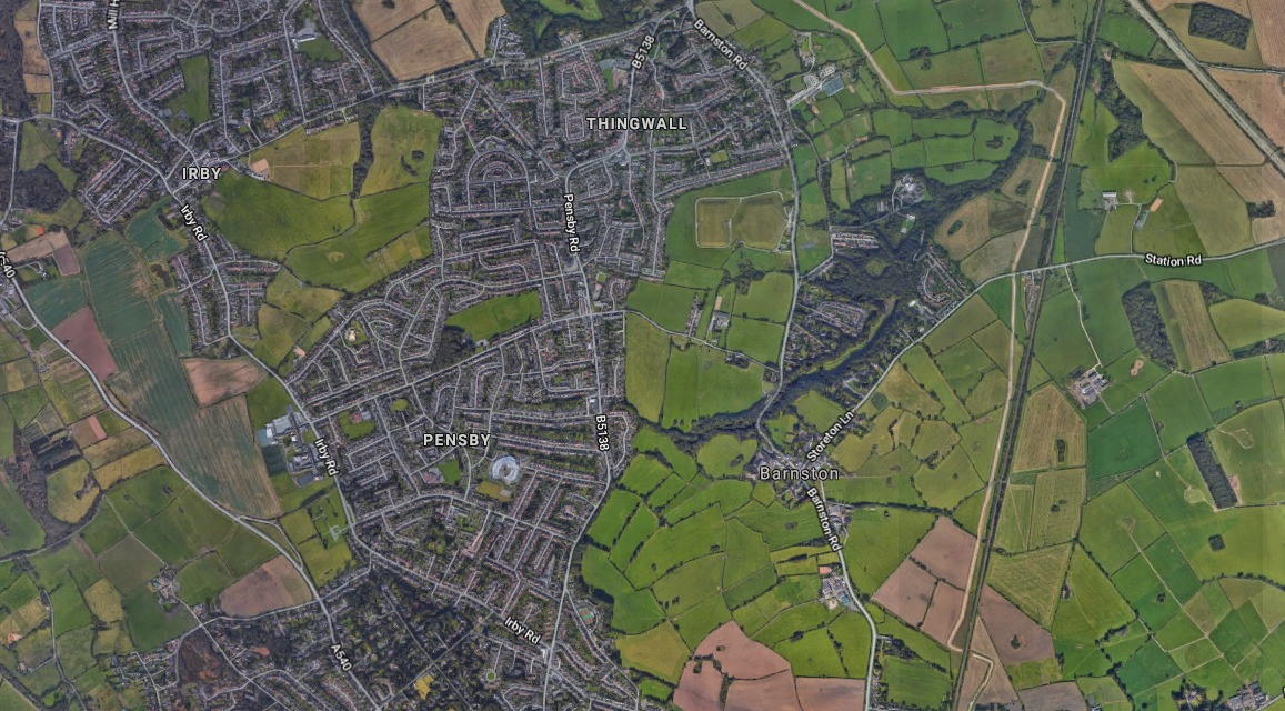 Bird's-eye view of Pensby and Thingwall