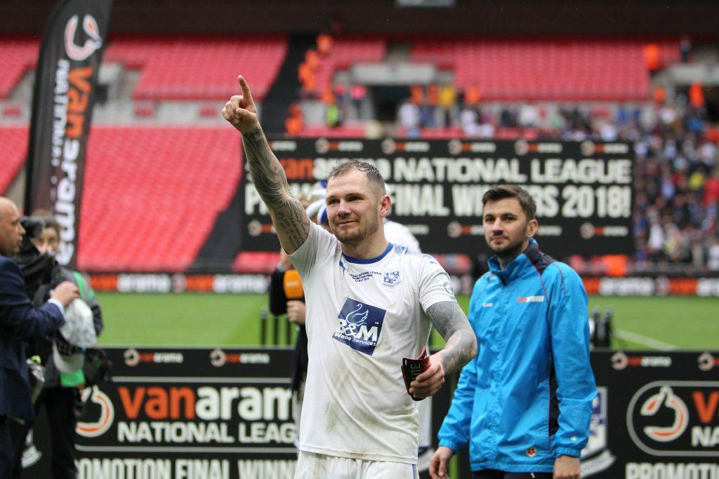 James Norwood salutes the Super White Army at Wembley on Saturday. Picture by Richard Ault