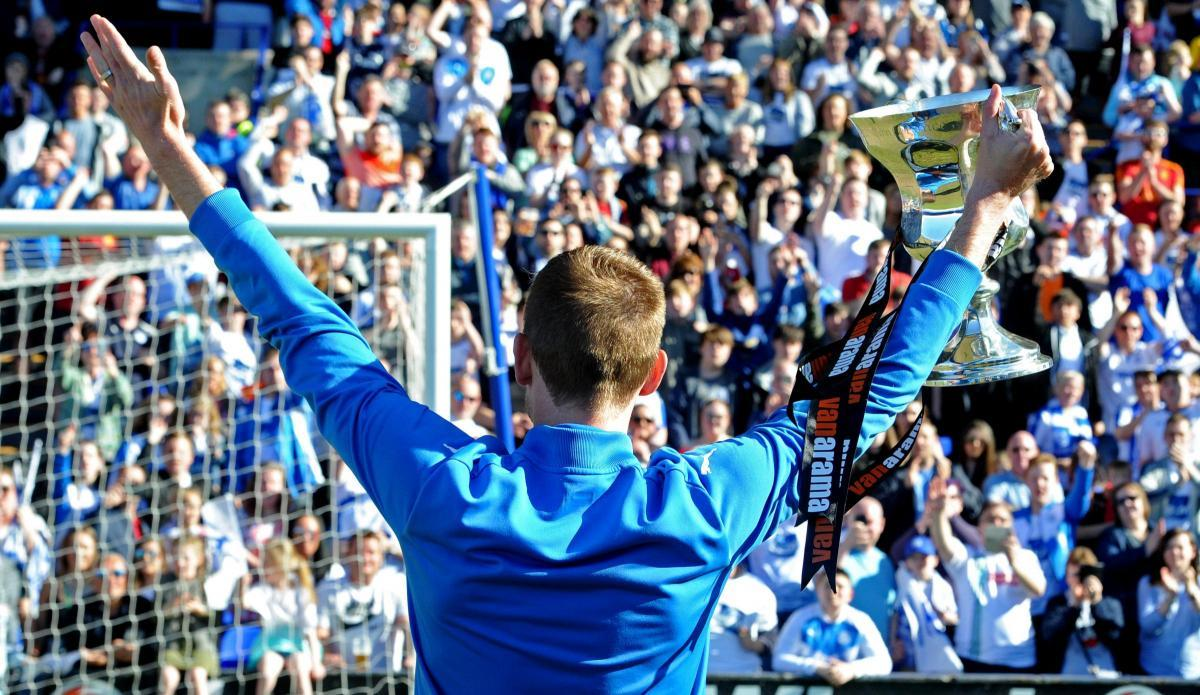 Celebrations during Rovers homecoming celebration at Prenton Park on Sunday. Picture: Paul Heaps