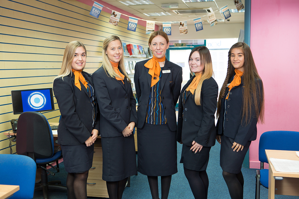 The team at Hays Travel Birkenhead, from left to right; Kayliegh (corr) Williams, Aimee McDonald, Manager Natalie Price, Rachel Luckie, and Apprentice Morgan Needham