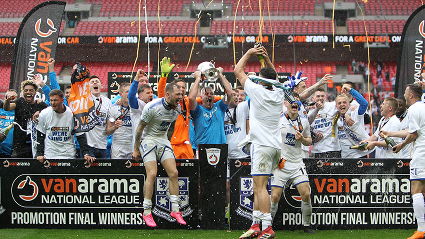 Tranmere Rovers celebrating their return to the Football League (Picture: Richard Ault)