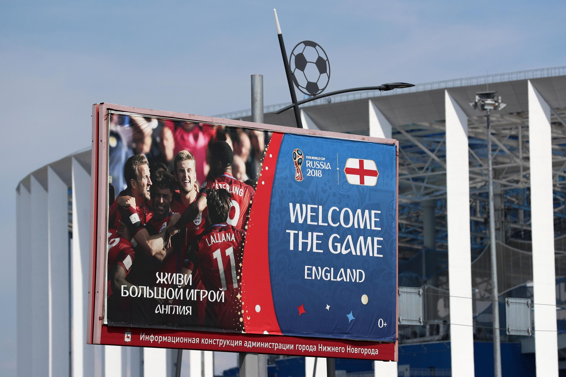 An advertising board welcomes England fans