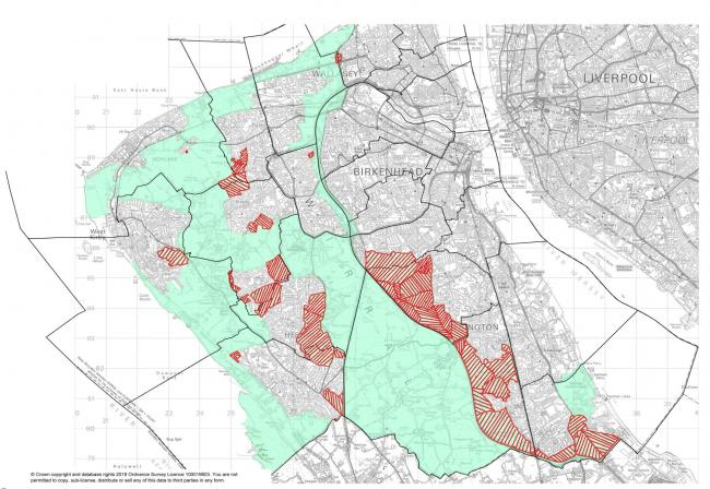 Red areas show parts of borough under threat