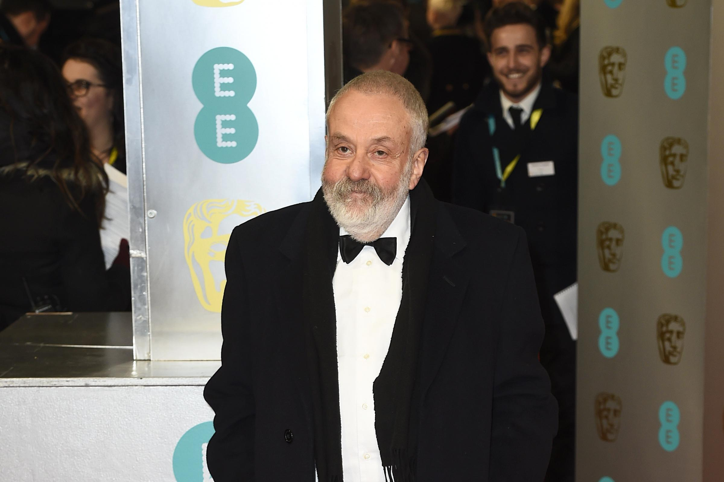 Mike Leigh on the red carpet