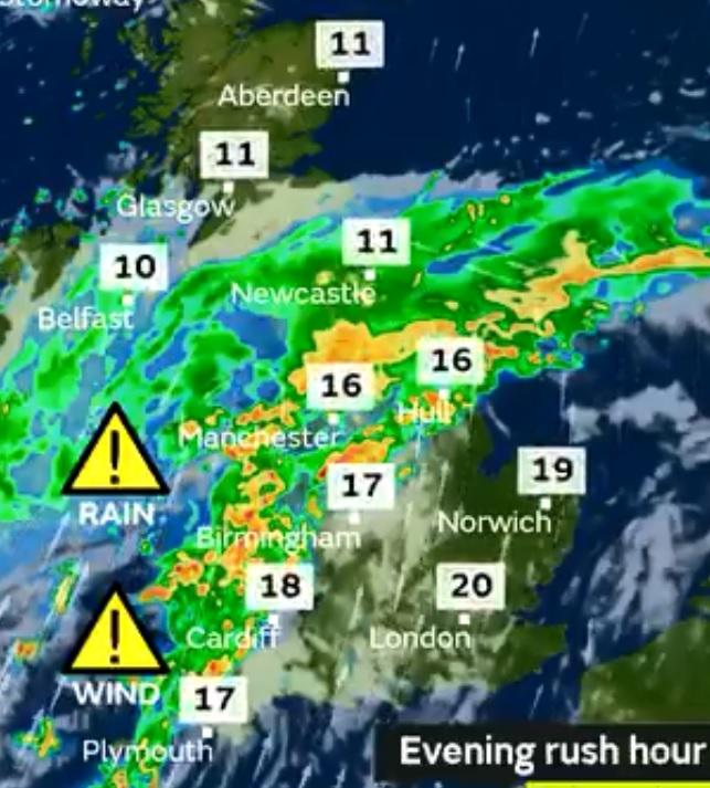 Flood alert warning as Storm Bronagh sweeps across the country. Pic credit: Met Office
