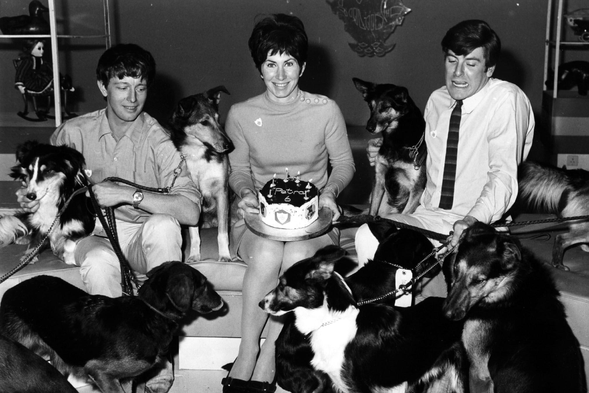 Blue Peter presenters John Noakes, Valerie Singleton and Peter Purves