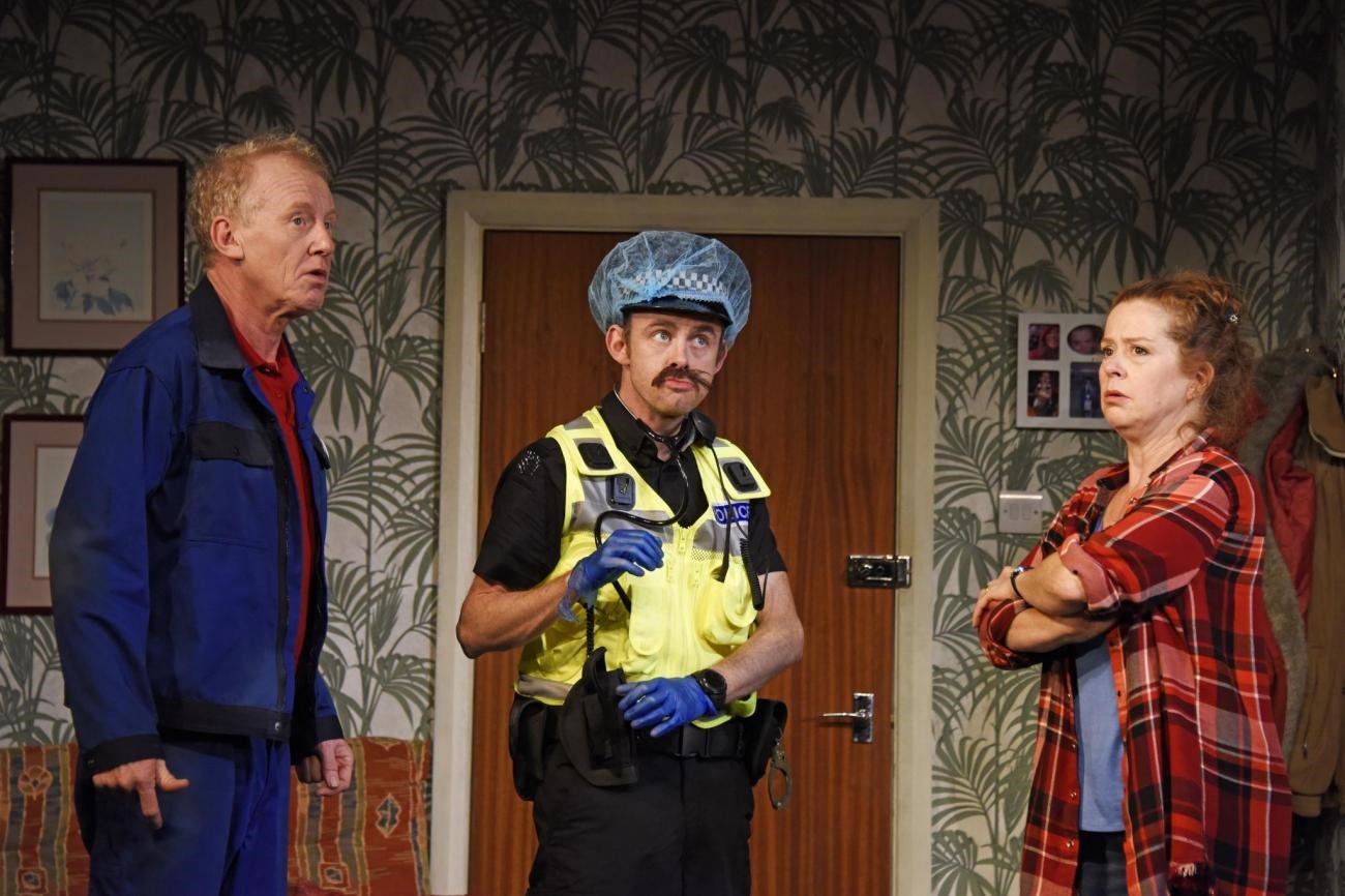 Left to right: Steve Huison as Jack, Michael Hugo as Sergeant and Lisa Howard as Anthea in scene from 'They Don't Pay – We Won't Pay'