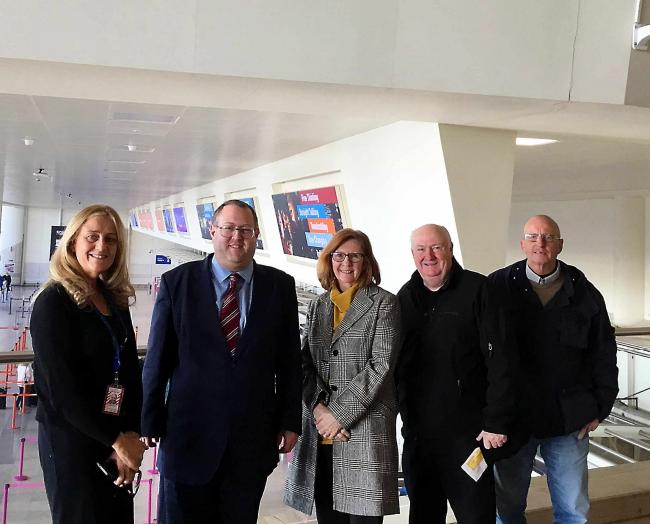 Left to right: LJL customer services executive Christina Smith, Cllr Jeremy Wolfson and Pat Broster, Tommy Dunne and Paul Hitchmough from Dementia Action Alliance