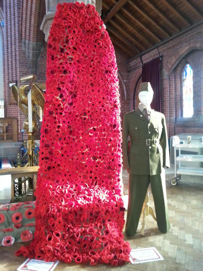 A display of knitted poppies that will be on view to visitors