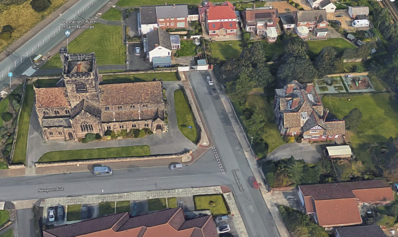 St Nicholas Church, Wallasey, to the left, with the church\'s vicarage to the right