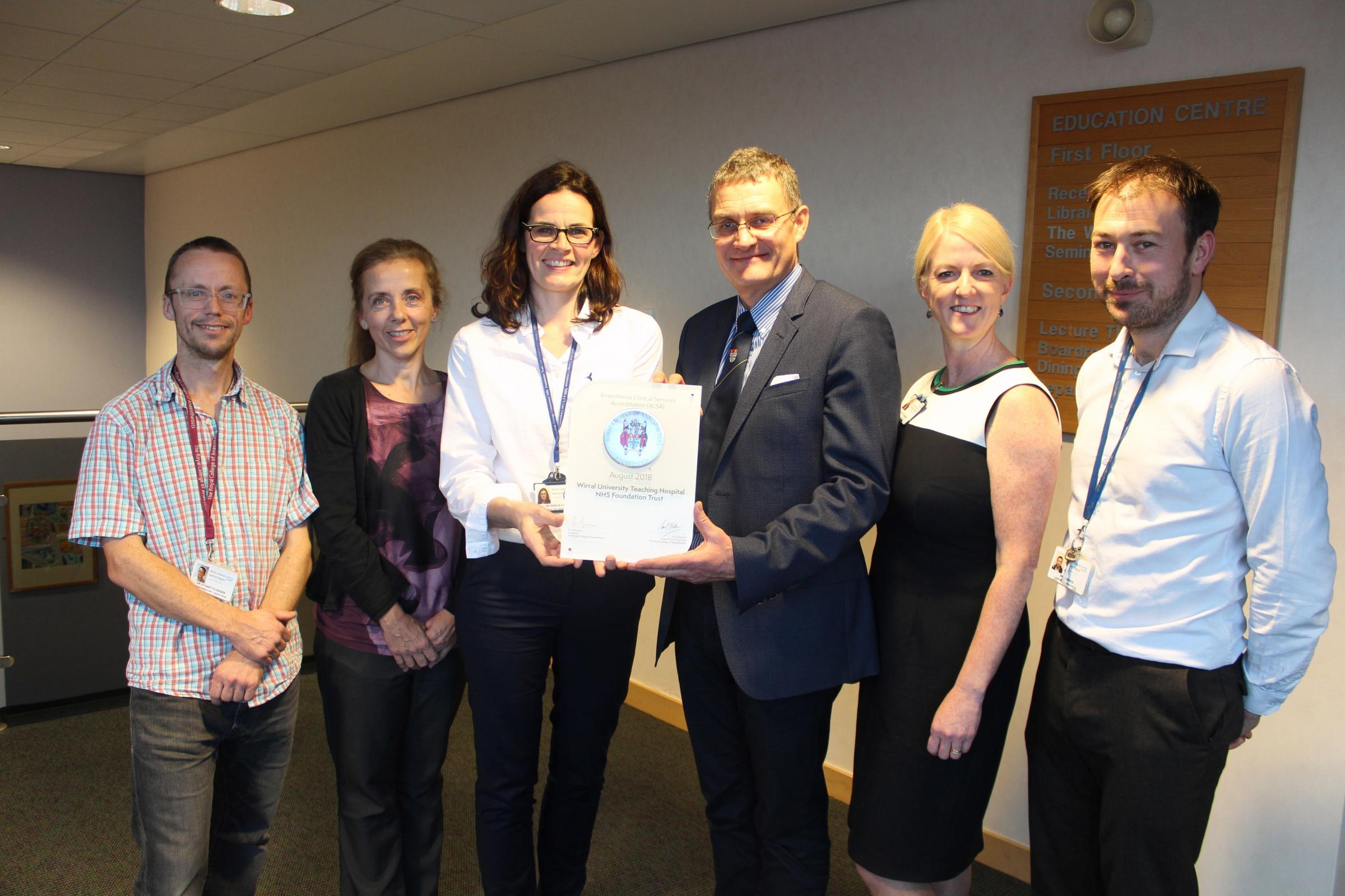 Wirral hospital's anaesthetic team recognised for patient care