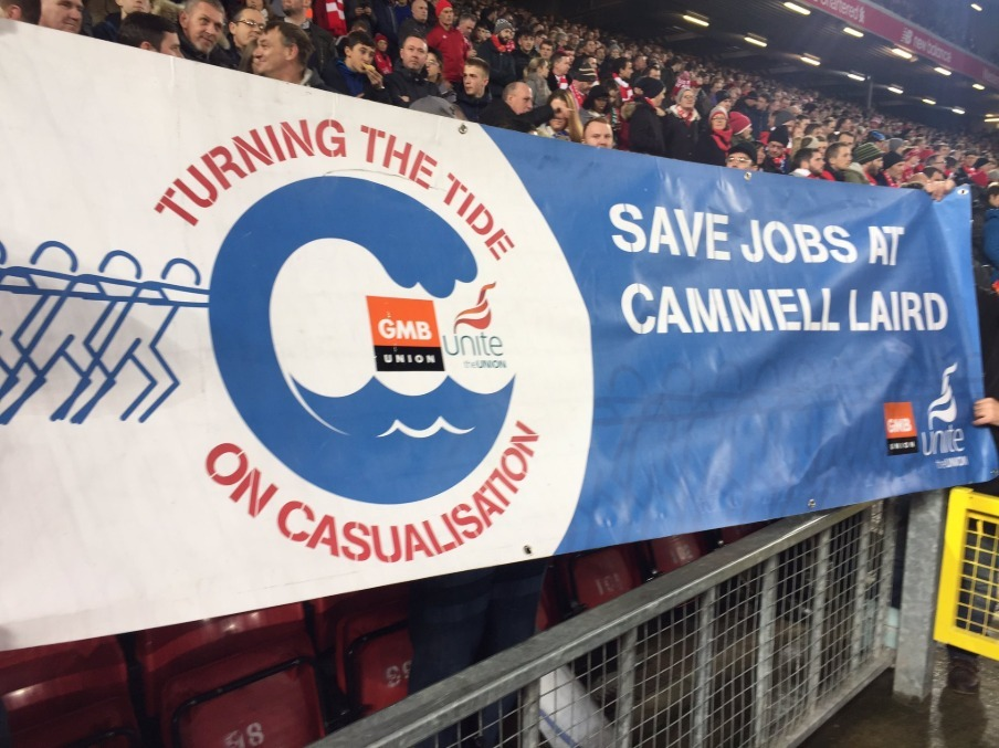 Merseyside Football Fans Pledge Support For Cammell Laird Workers