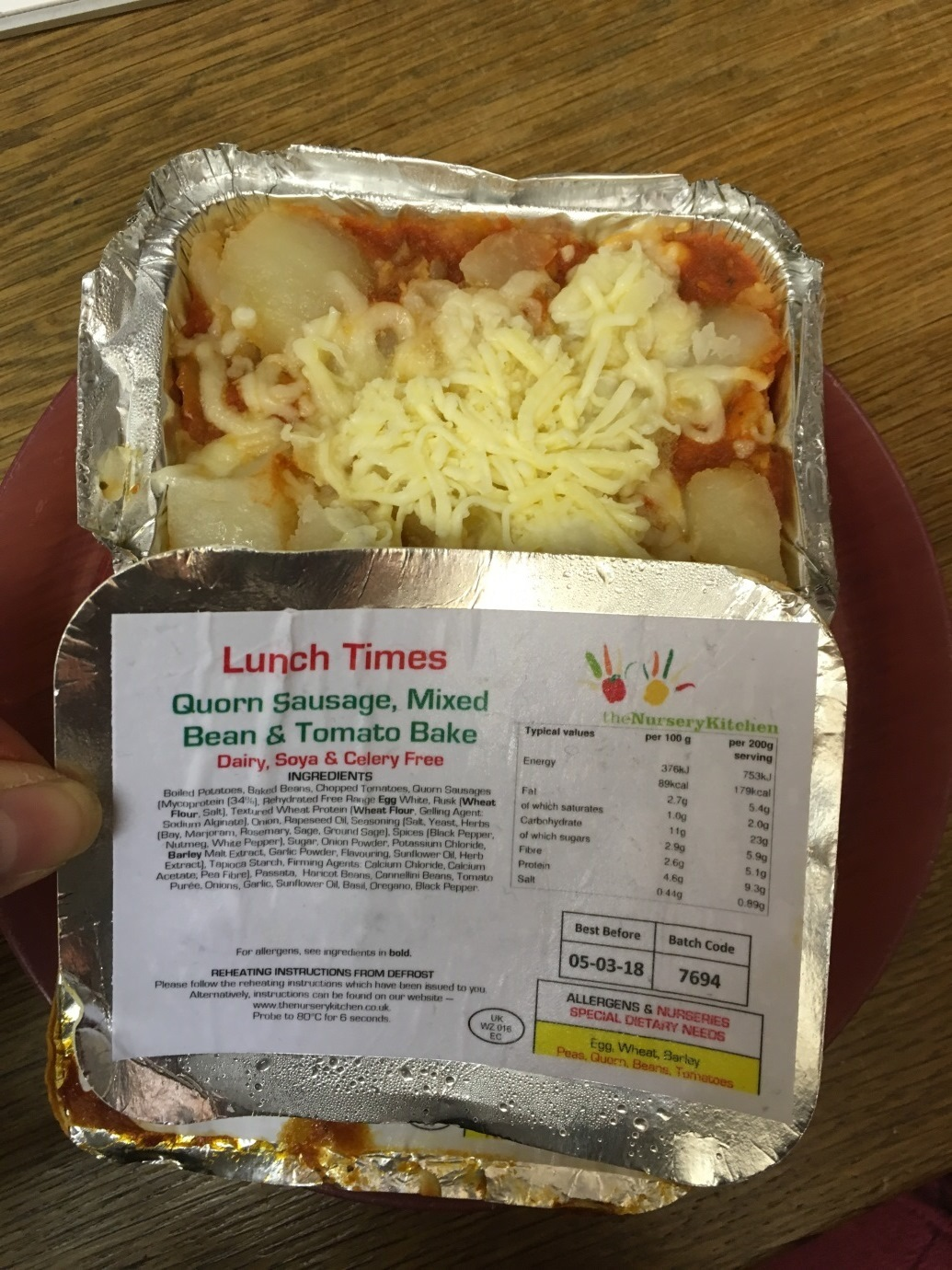 The Quorn sausage, mixed bean and tomato bake meal that had been mislabelled as dairy free (Picture: Wirral Council)