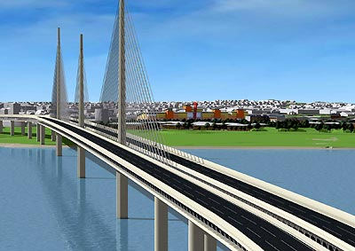 Artist impression of the new bridge across the Mersey