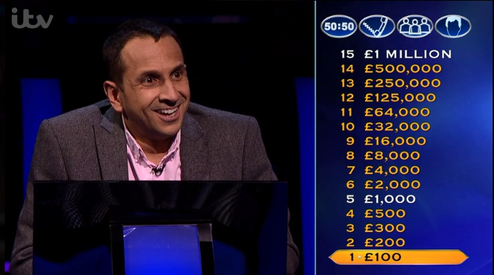 Policeman Nicholas Gunatilleke, from Wirral, on Who Wants to Be a Millionaire? (Picture: ITV)