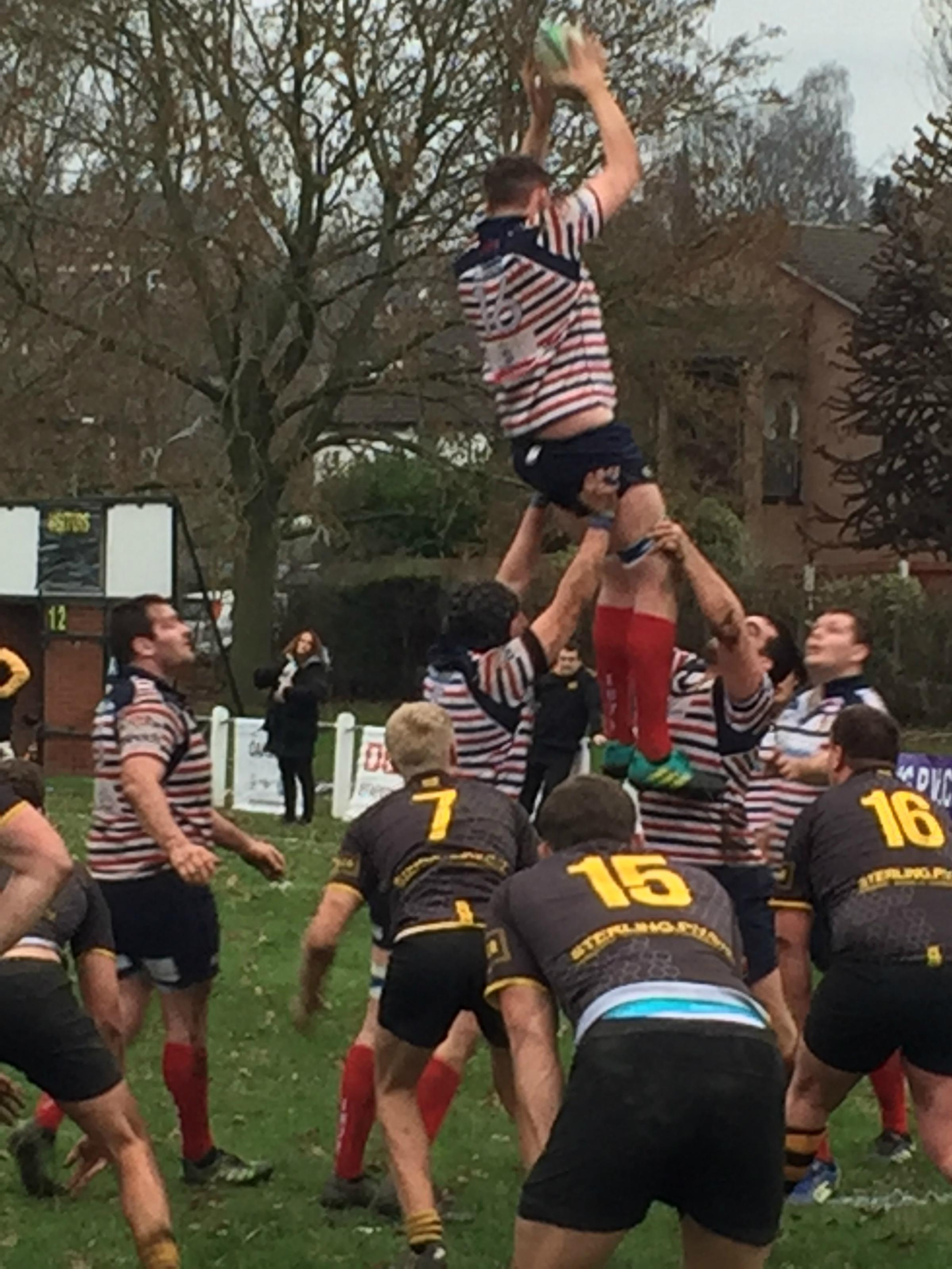 Birkenhead Park's second row Josh Smith dominated the line-outs at Northwich.   Picture: John Horwood.