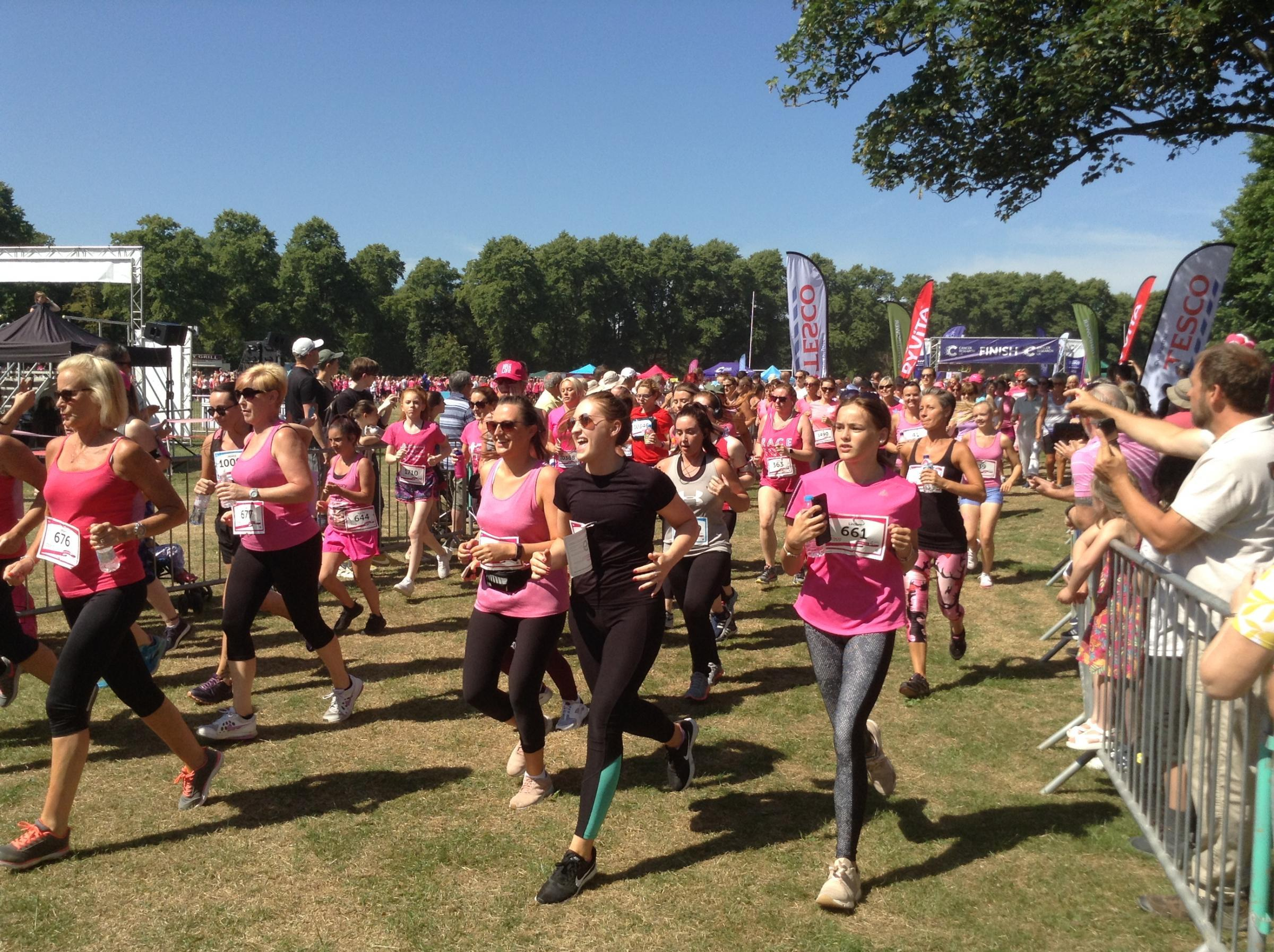 Setting off at start of last year's Race For Life in Birkenhead Park. Picture by Craig Manning