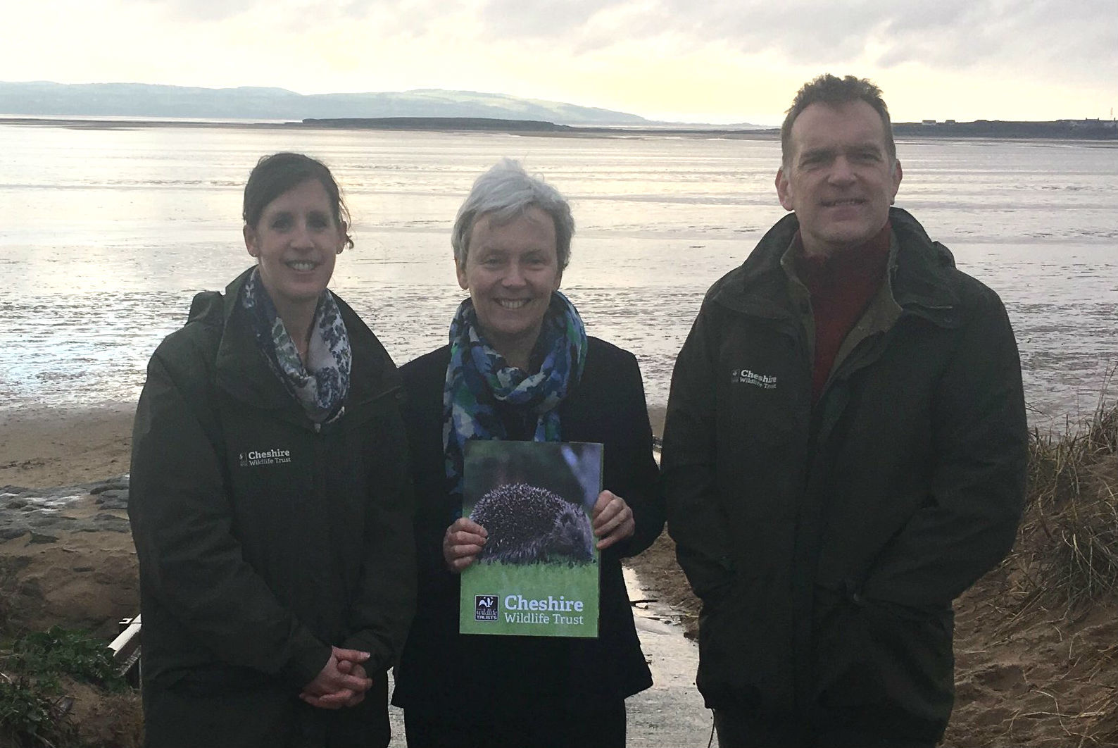 Margaret Greenwood MP with Martin Varley and Sarah Bennett from the Cheshire Wildlife Trust