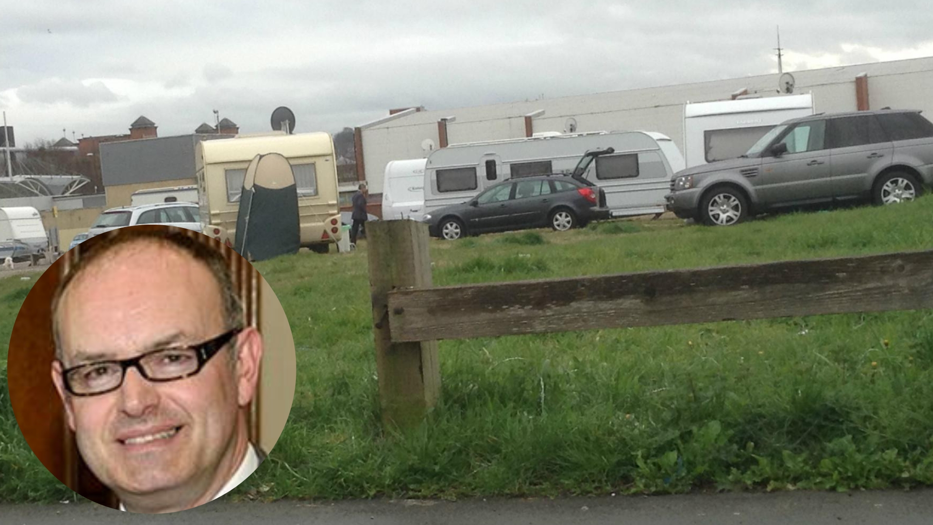 Cllr David Burgess-Joyce (left) and one of the recent traveller encampments in Birkenhead (Picture: Craig Manning)