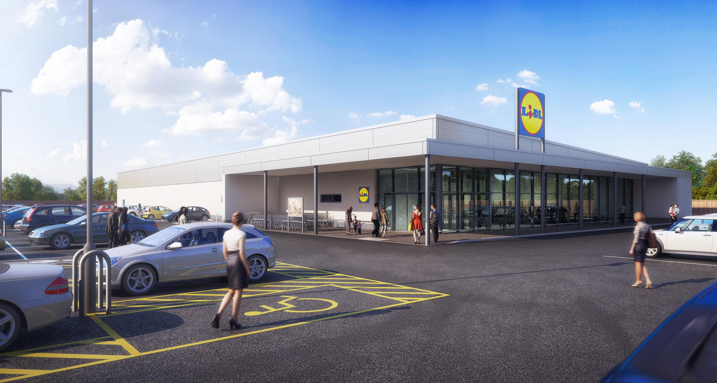 A CGI image of a typical Lidl store