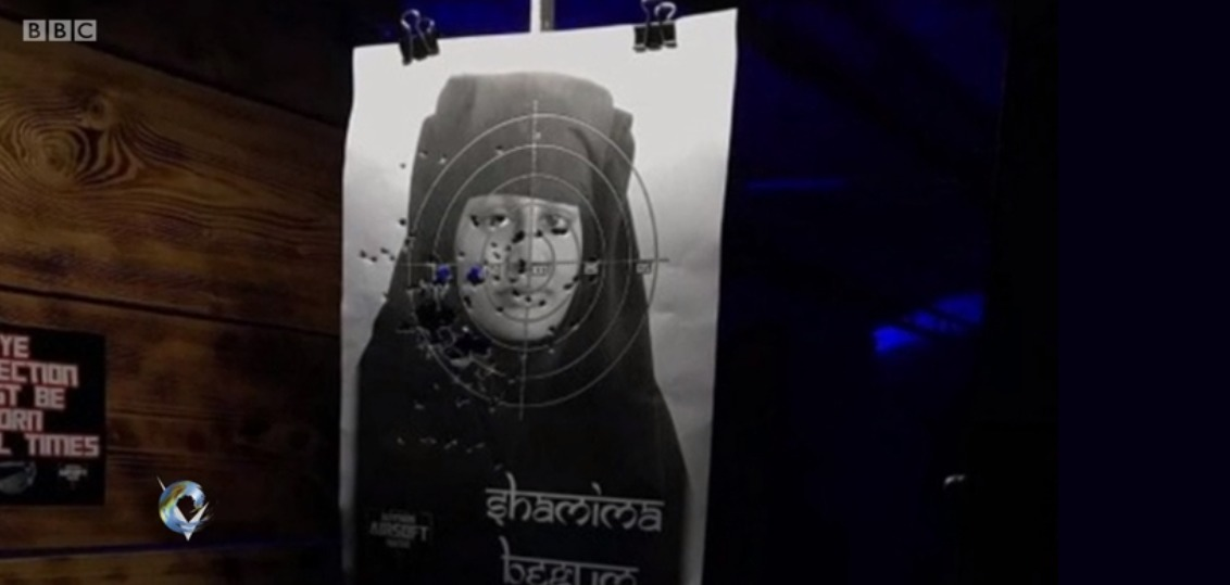 Shamima Begum image being used for target practice at Ultimate Airsoft Range LTD (Picture: BBC/Victoria Derbyshire)