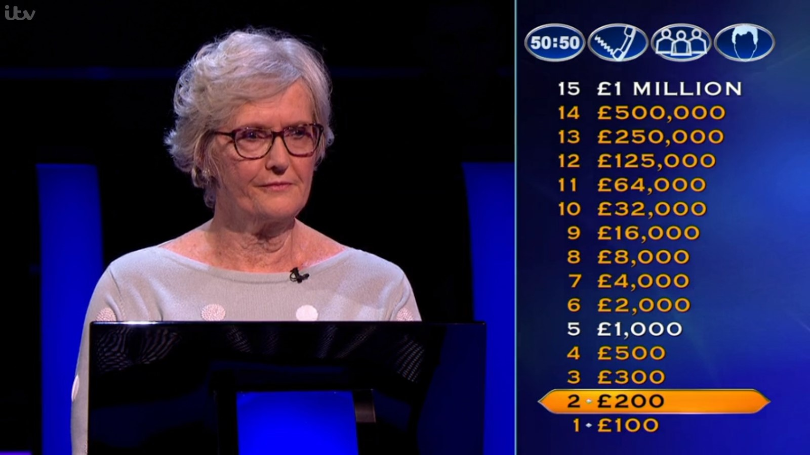 Retired bilingual secretary Helen Belcham, from Wirral, on Who Wants to Be a Millionaire? (Picture: ITV)