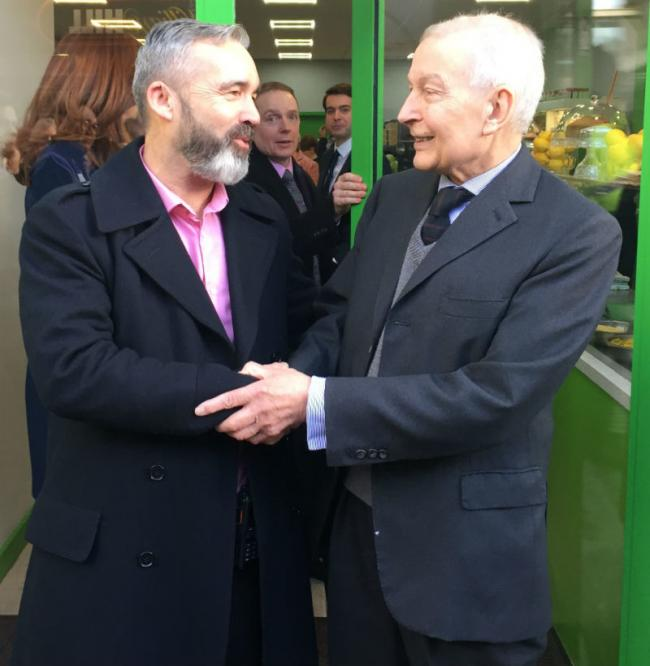 Derek Millar, commercial director at Pyramids (left) with the then Birkenhead MP Frank Field at the official opening of Number 7 last year