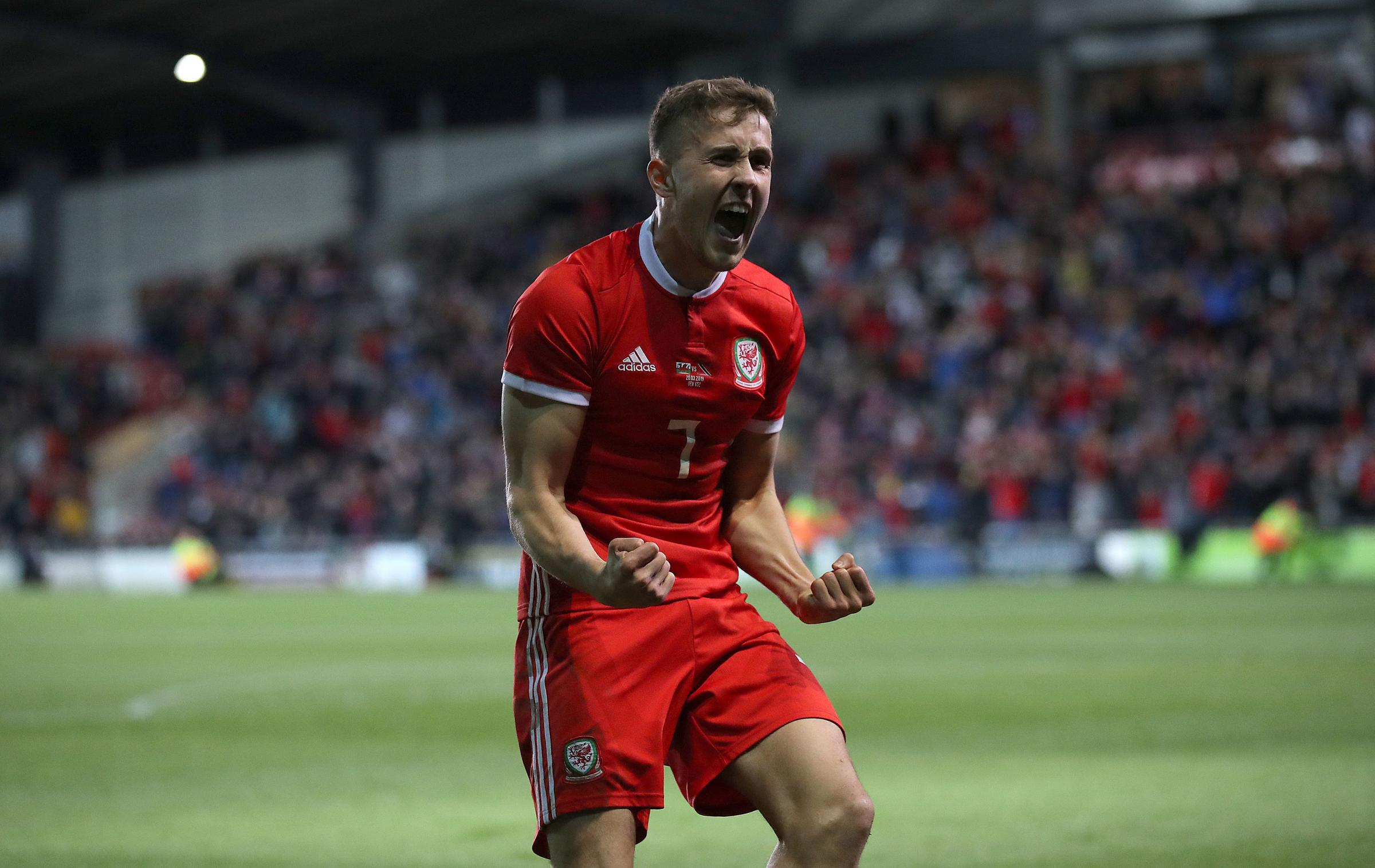 Wales' Will Vaulks celebrates Ben Woodburn (not pictured) scoring his side's first goal of the game during the International Friendly match at the Racecourse Ground, Wrexham. (Picture: Nick Potts/PA WIRE)
