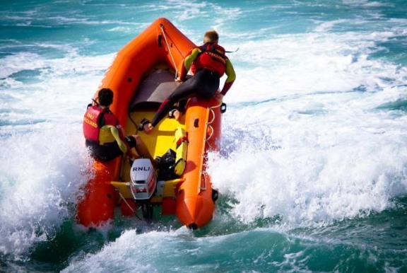 A lifeguard in action. Library photo: RNLI