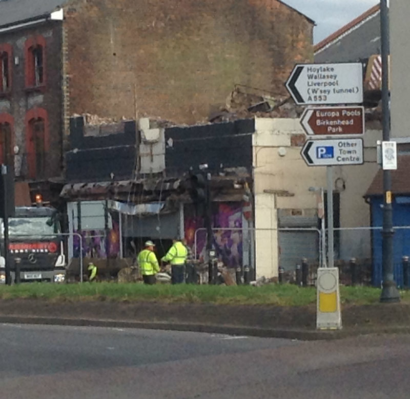 Demolition team at site of ex-Marbella Mambo nightclub in Birkenhead. (Picture: Craig Manning)