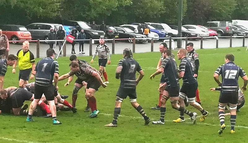 Birkenhead Park forwards attack the Anselmian line. (Picture: Peter Greville)