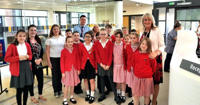Cathcart Street School Pupils and Karen Howell during visit to St Catherine's Health Centre in Birkenhead
