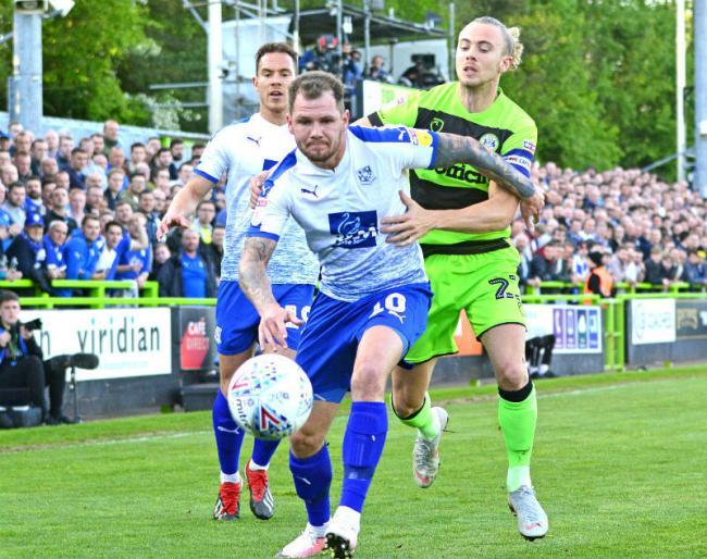 James Norwood in action for Tranmere Rovers during League Two play-off semi-final second leg against Forest Green Rovers. Picture: Tony Coombes